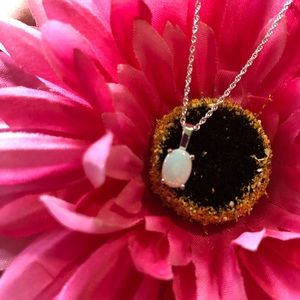 SS White Opal Pendant Necklace